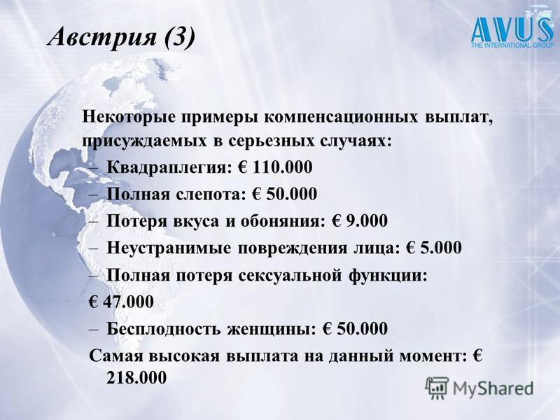 Австрия (3) Некоторые примеры компенсационных выплат, присуждаемых в серьезных случаях: –Квадраплегия: 110.000 –Полная слепота: 50.000 –Потеря вкуса и обоняния: 9.000 –Неустранимые повреждения лица: 5.000 –Полная потеря сексуальной функции: 47.000 –Б