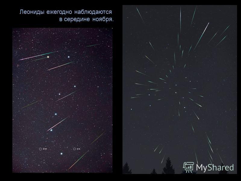 Леониды ежегодно наблюдаются в середине ноября.