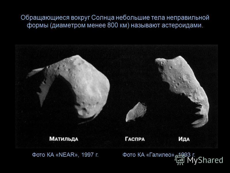 Обращающиеся вокруг Солнца небольшие тела неправильной формы (диаметром менее 800 км) называют астероидами. Фото КА «Галилео», 1993 г.Фото КА «NEAR», 1997 г.