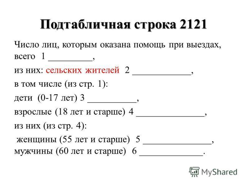 Подтабличная строка 2121 Число лиц, которым оказана помощь при выездах, всего 1 _________, из них: сельских жителей 2 ____________, в том числе (из стр. 1): дети (0-17 лет) 3 __________, взрослые (18 лет и старше) 4 ______________, из них (из стр. 4)