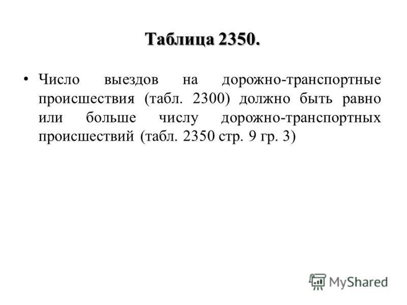 Таблица 2350. Число выездов на дорожно-транспортные происшествия (табл. 2300) должно быть равно или больше числу дорожно-транспортных происшествий (табл. 2350 стр. 9 гр. 3)
