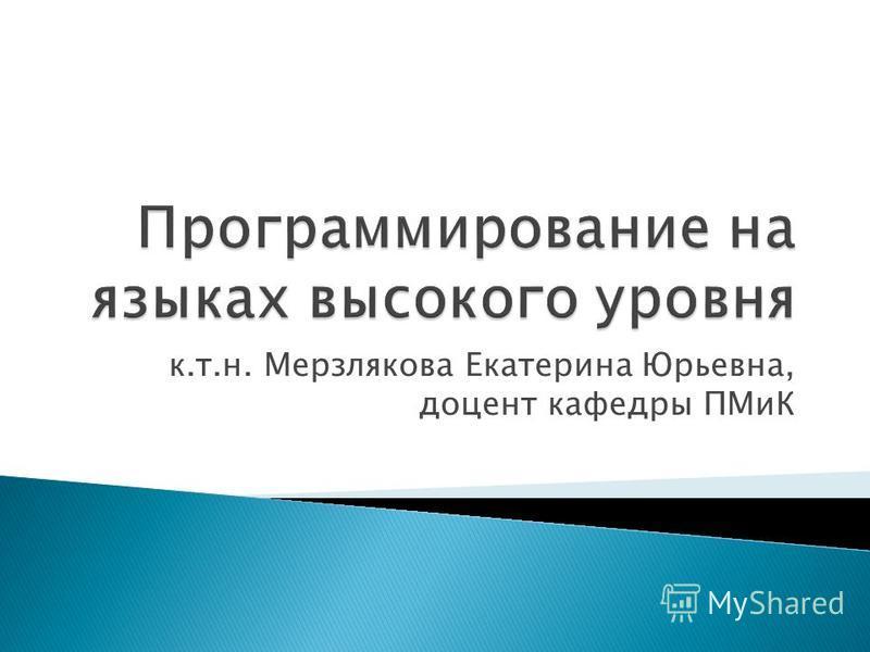 к.т.н. Мерзлякова Екатерина Юрьевна, доцент кафедры ПМиК
