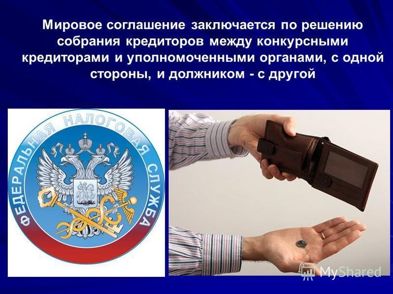 Мировое соглашение заключается по решению собрания кредиторов между конкурсными кредиторами и уполномоченными органами, с одной стороны, и должником - с другой