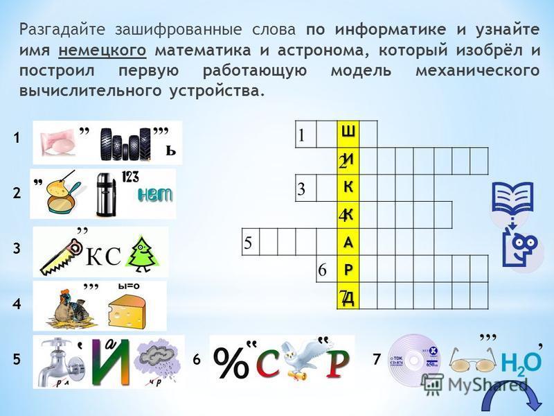 Разгадайте зашифрованные слова по информатике и узнайте имя немецкого математика и астронома, который изобрёл и построил первую работающую модель механического вычислительного устройства. 1 2 3 4 5 6 7 1 2 3 4 5 6 7 ШИККАРД