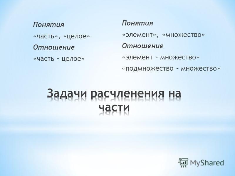 Понятия «часть», «целое» Отношение «часть – целое» Понятия «элемент», «множество» Отношение «элемент – множество» «подмножество – множество»