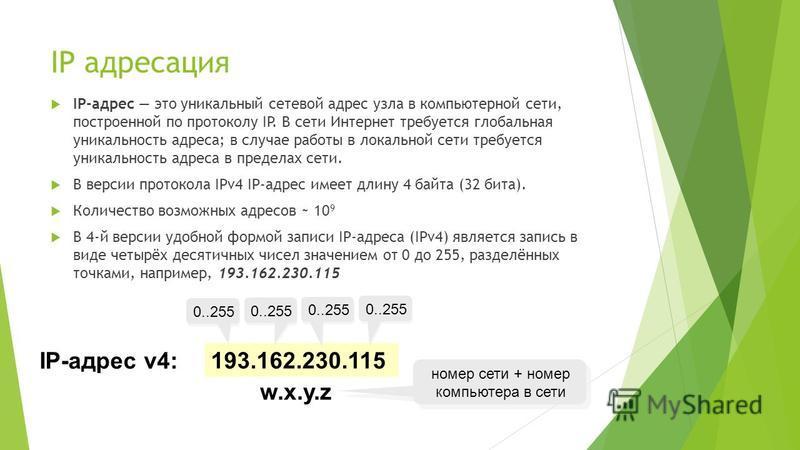 IP адресация IP-адрес это уникальный сетевой адрес узла в компьютерной сети, построенной по протоколу IP. В сети Интернет требуется глобальная уникальность адреса; в случае работы в локальной сети требуется уникальность адреса в пределах сети. В верс