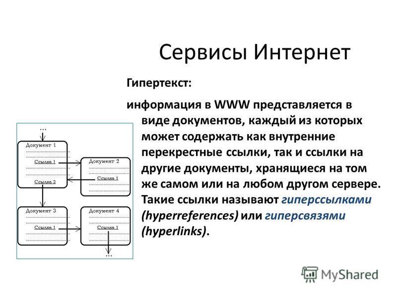 Сервисы Интернет Гипертекст: информация в WWW представляется в виде документов, каждый из которых может содержать как внутренние перекрестные ссылки, так и ссылки на другие документы, хранящиеся на том же самом или на любом другом сервере. Такие ссыл