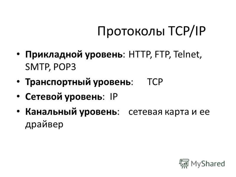 Протоколы TCP/IP Прикладной уровень: HTTP, FTP, Telnet, SMTP, POP3 Транспортный уровень:TCP Сетевой уровень: IP Канальный уровень: сетевая карта и ее драйвер