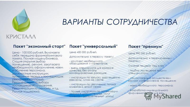 ВАРИАНТЫ СОТРУДНИЧЕСТВА Пакет