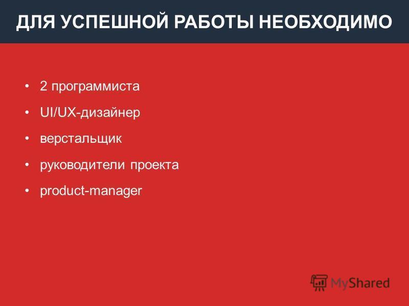ДЛЯ УСПЕШНОЙ РАБОТЫ НЕОБХОДИМО 2 программиста UI/UX-дизайнер верстальщик руководители проекта product-manager