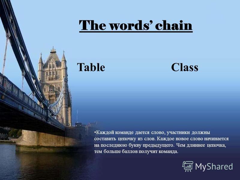The words chain Table Class Каждой команде дается слово, участники должны составить цепочку из слов. Каждое новое слово начинается на последнюю букву предыдущего. Чем длиннее цепочка, тем больше баллов получит команда.