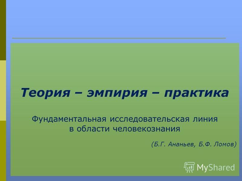 Теория – эмпирия – практика Фундаментальная исследовательская линия в области человекознания (Б.Г. Ананьев, Б.Ф. Ломов)