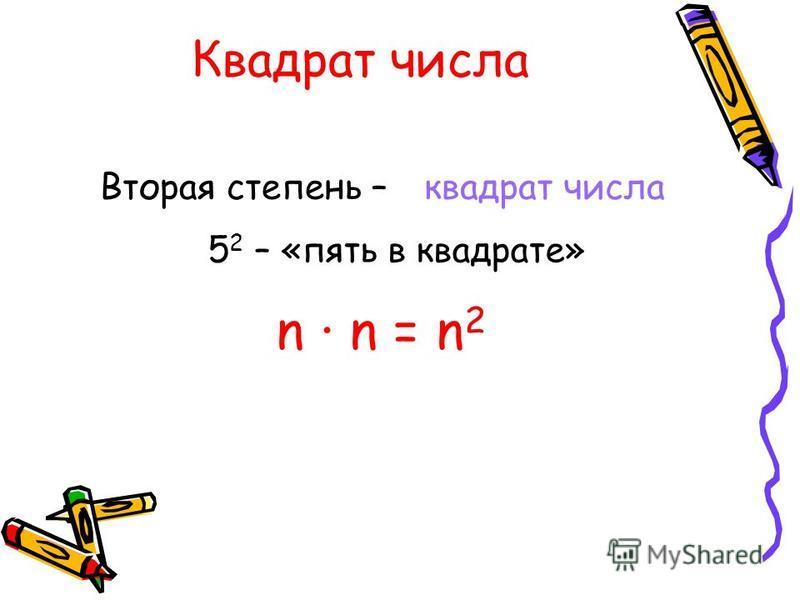 Квадрат числа Вторая степень – n · n = n 2 квадрат числа 5 2 – «пять в квадрате»