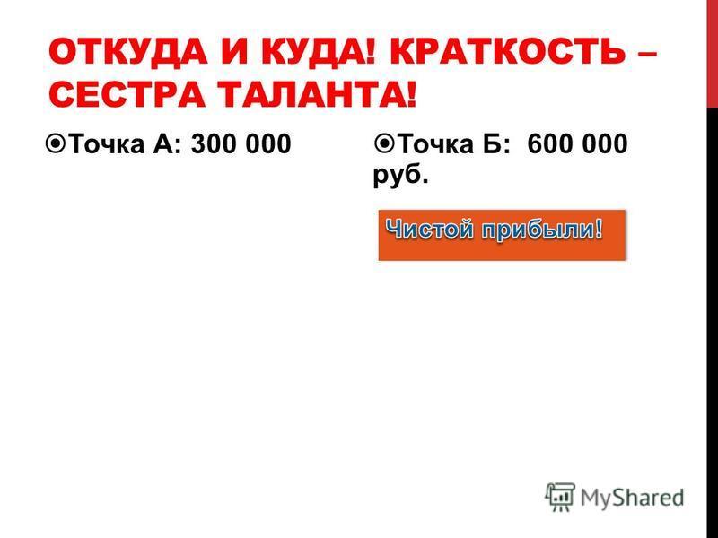 ОТКУДА И КУДА! КРАТКОСТЬ – СЕСТРА ТАЛАНТА! Точка А: 300 000 Точка Б: 600 000 руб.