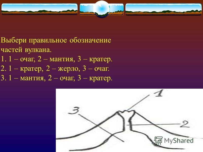 Выбери правильное обозначение частей вулкана. 1.1 – очаг, 2 – мантия, 3 – кратер. 2.1 – кратер, 2 – жерло, 3 – очаг. 3.1 – мантия, 2 – очаг, 3 – кратер.
