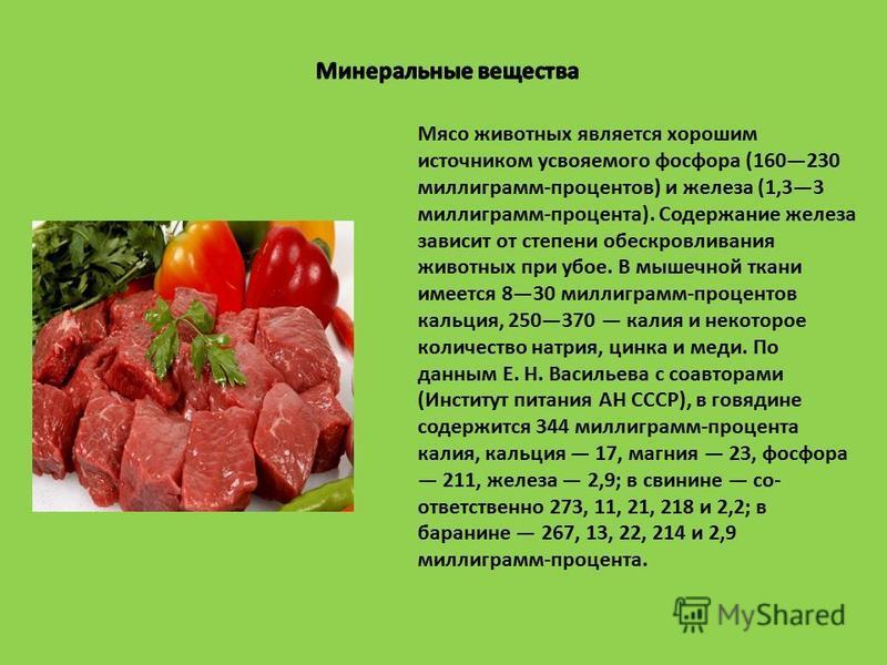 Мясо животных является хорошим источником усвояемого фосфора (160230 миллиграмм-процентов) и железа (1,33 миллиграмм-процента). Содержание железа зависит от степени обескровливания животных при убое. В мышечной ткани имеется 830 миллиграмм-процентов