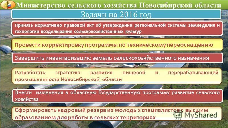 Министерство сельского хозяйства Новосибирской области Задачи на 2016 год Разработать стратегию развития пищевой и перерабатывающей промышленности Новосибирской области Внести изменения в областную Государственную программу развитие сельского хозяйст