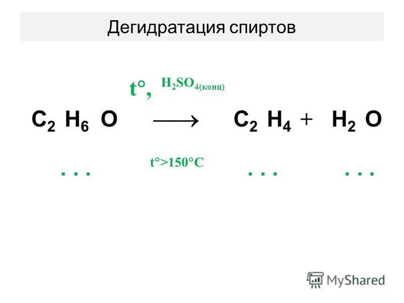 Дегидратация спиртов t, H 2 SO 4(конц) С2С2 Н6Н6 O С2С2 Н4Н4 + Н2Н2 O... t >150 C...