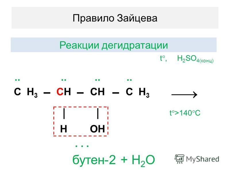 Правило Зайцева Реакции дегидратации t, H 2 SO 4(конц).. СH3H3 CНCН CH СH3H3 t >140 C HOH... бутен-2 + H 2 O