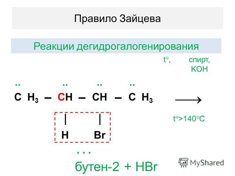 Правило Зайцева Реакции гидрогалогенирования t, спирт, KOH.. СH3H3 CНCН CH СH3H3 t >140 C HBr... бутен-2 + HBr