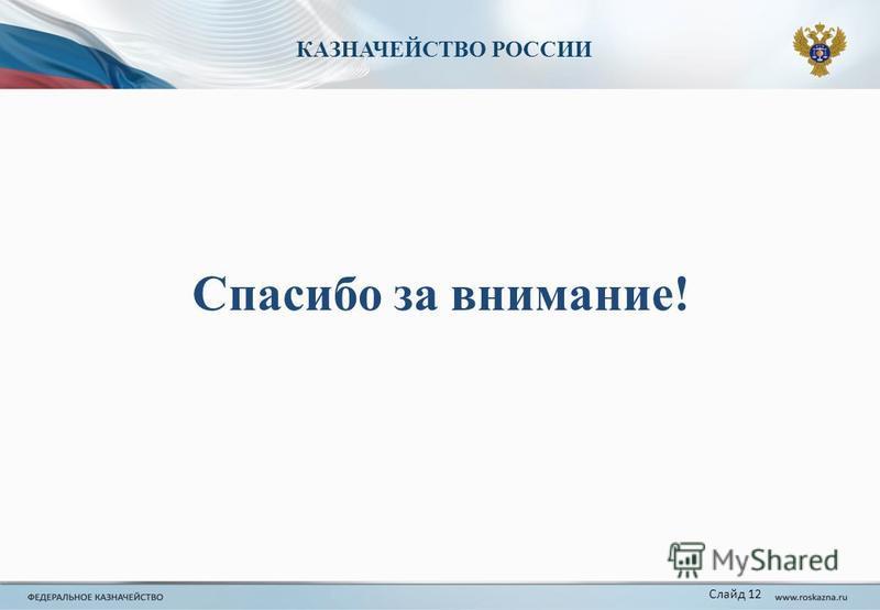 КАЗНАЧЕЙСТВО РОССИИ Слайд 12 Спасибо за внимание!