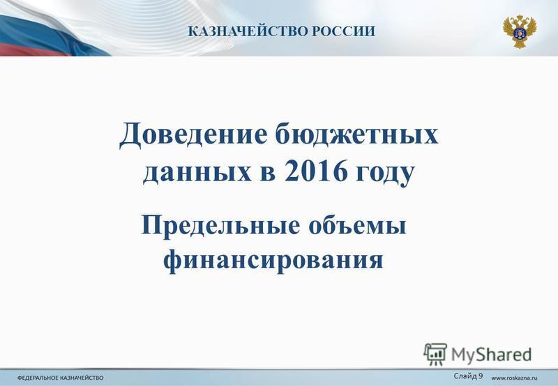 Предельные объемы финансирования КАЗНАЧЕЙСТВО РОССИИ Слайд 9 Доведение бюджетных данных в 2016 году