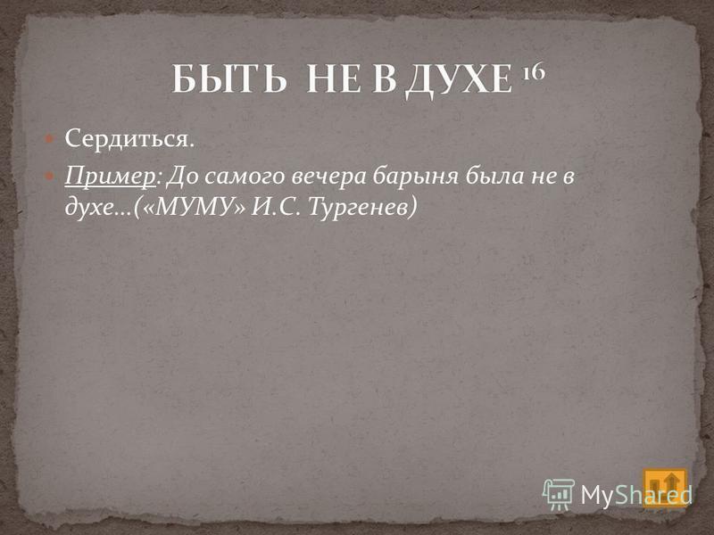 Сердиться. Пример: До самого вечера барыня была не в духе…(«МУМУ» И.С. Тургенев)