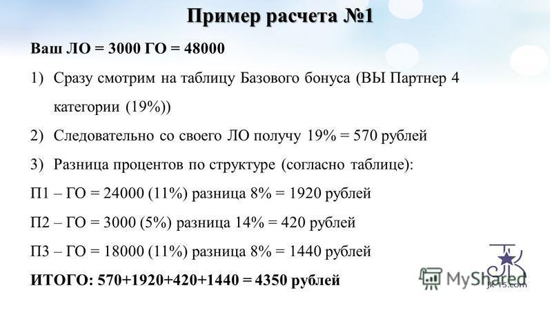 Пример расчета 1 Ваш ЛО = 3000 ГО = 48000 1)Сразу смотрим на таблицу Базового бонуса (ВЫ Партнер 4 категории (19%)) 2)Следовательно со своего ЛО получу 19% = 570 рублей 3)Разница процентов по структуре (согласно таблице): П1 – ГО = 24000 (11%) разниц