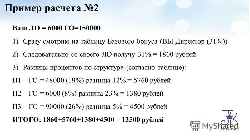 Пример расчета 2 Ваш ЛО = 6000 ГО=150000 1)Сразу смотрим на таблицу Базового бонуса (ВЫ Директор (31%)) 2)Следовательно со своего ЛО получу 31% = 1860 рублей 3)Разница процентов по структуре (согласно таблице): П1 – ГО = 48000 (19%) разница 12% = 576