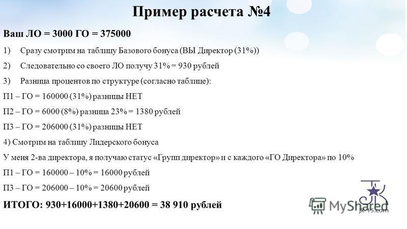 Пример расчета 4 Ваш ЛО = 3000 ГО = 375000 1)Сразу смотрим на таблицу Базового бонуса (ВЫ Директор (31%)) 2)Следовательно со своего ЛО получу 31% = 930 рублей 3)Разница процентов по структуре (согласно таблице): П1 – ГО = 160000 (31%) разницы НЕТ П2