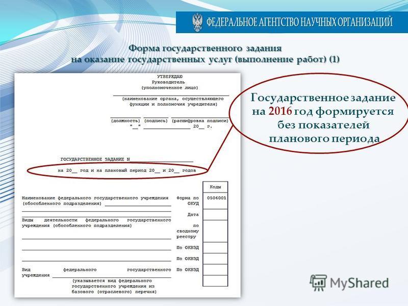 Учреждение Форма государственного задания на оказание государственных услуг (выполнение работ) (1) Государственное задание на 2016 год формируется без показателей планового периода
