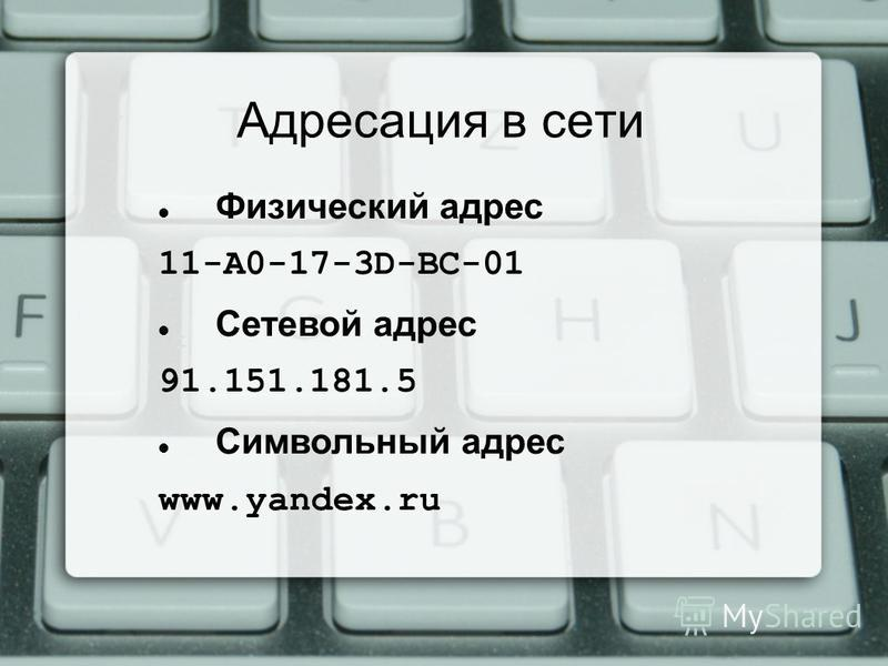 Физический адрес 11-A0-17-3D-BC-01 Сетевой адрес 91.151.181.5 Символьный адрес www.yandex.ru