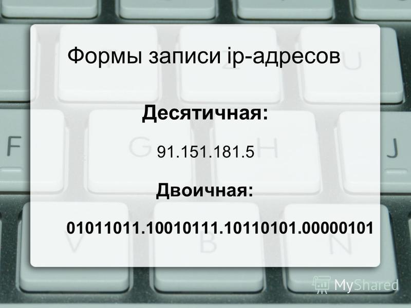 Формы записи ip-адресов Десятичная: 91.151.181.5 Двоичная: 01011011.10010111.10110101.00000101