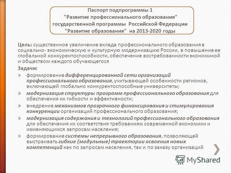 Паспорт подпрограммы 1