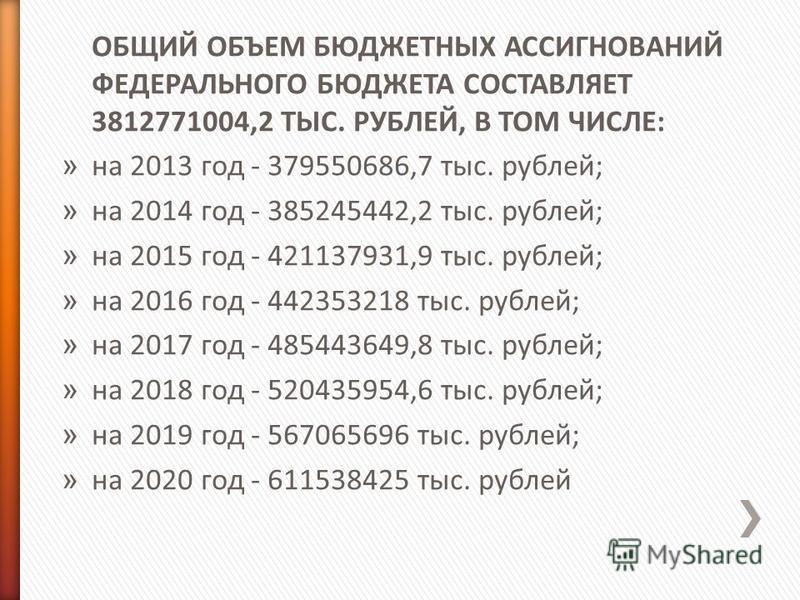 ОБЩИЙ ОБЪЕМ БЮДЖЕТНЫХ АССИГНОВАНИЙ ФЕДЕРАЛЬНОГО БЮДЖЕТА СОСТАВЛЯЕТ 3812771004,2 ТЫС. РУБЛЕЙ, В ТОМ ЧИСЛЕ: » на 2013 год - 379550686,7 тыс. рублей; » на 2014 год - 385245442,2 тыс. рублей; » на 2015 год - 421137931,9 тыс. рублей; » на 2016 год - 44235