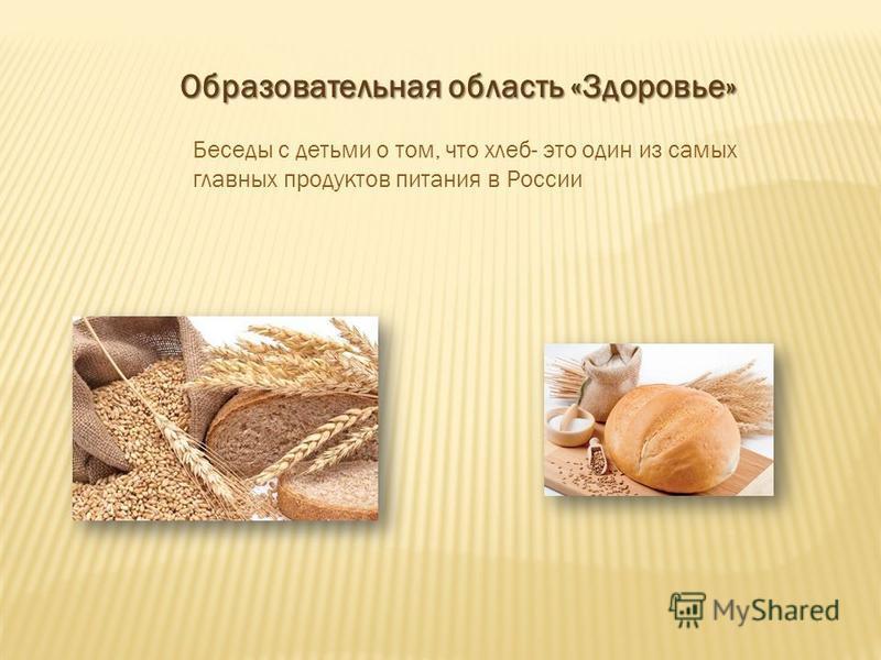 Образовательная область «Здоровье» Беседы с детьми о том, что хлеб- это один из самых главных продуктов питания в России