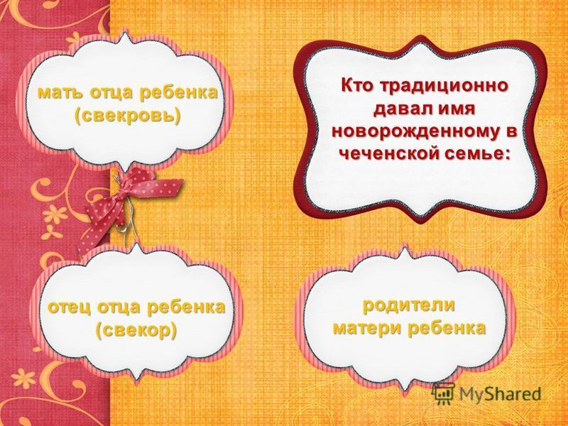 Кто традиционно давал имя новорожденному в чеченской семье: родители матери ребенка родители матери ребенка отец отца ребенка (свекор) отец отца ребенка (свекор) мать отца ребенка (свекровь) мать отца ребенка (свекровь)