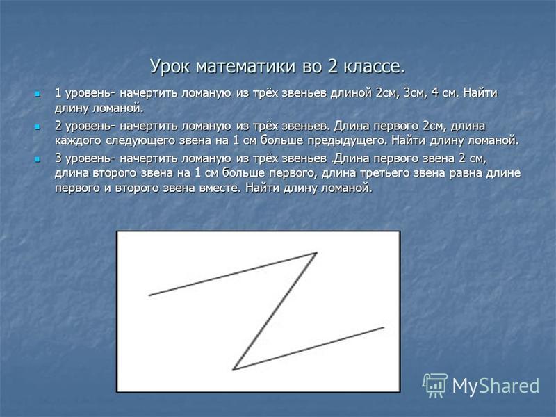 Урок математики во 2 классе. 1 уровень- начертить ломаную из трёх звеньев длиной 2 см, 3 см, 4 см. Найти длину ломаной. 1 уровень- начертить ломаную из трёх звеньев длиной 2 см, 3 см, 4 см. Найти длину ломаной. 2 уровень- начертить ломаную из трёх зв