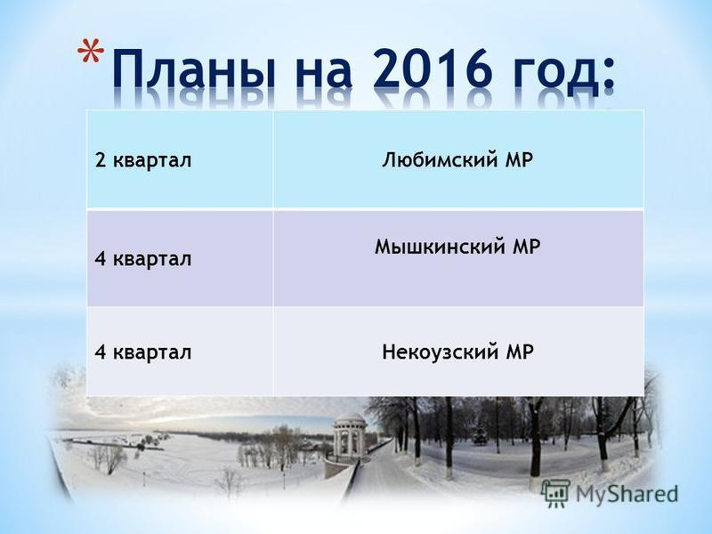 2 квартал Любимский МР 4 квартал Мышкинский МР 4 квартал Некоузский МР