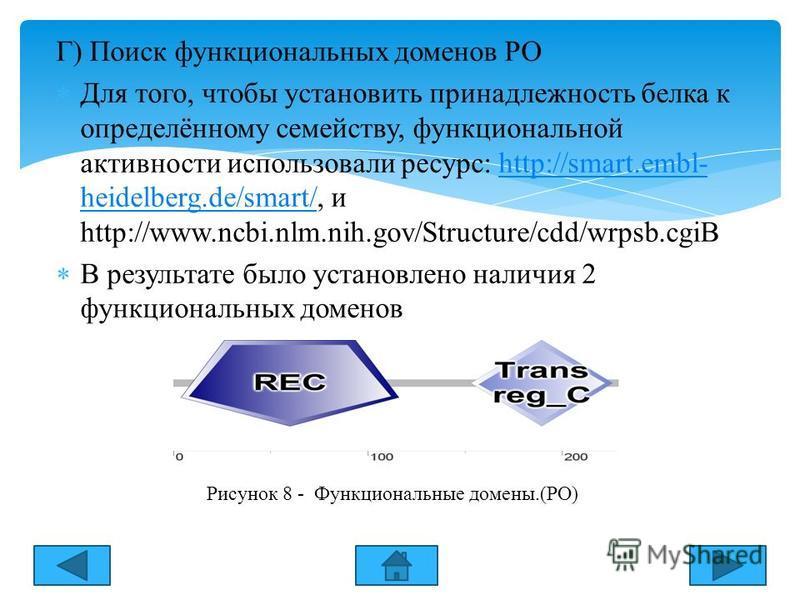 Г) Поиск функциональных доменов РО Для того, чтобы установить принадлежность белка к определённому семейству, функциональной активности использовали ресурс: http://smart.embl- heidelberg.de/smart/, и http://www.ncbi.nlm.nih.gov/Structure/cdd/wrpsb.cg