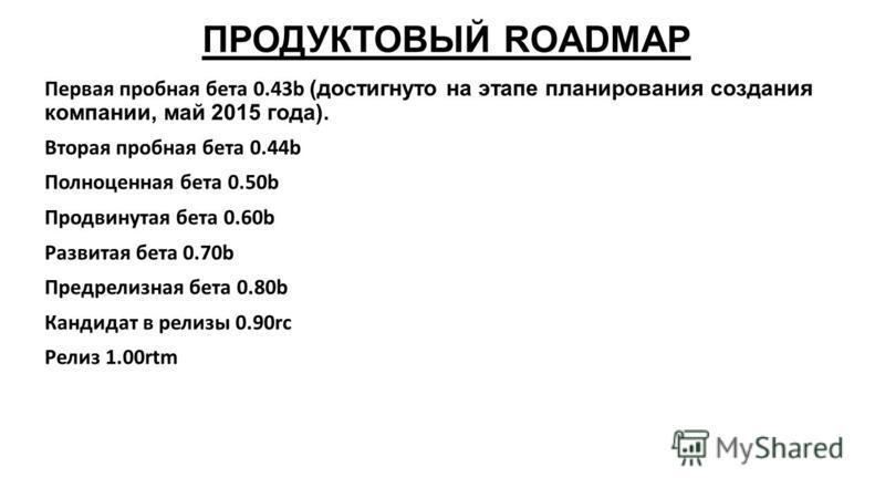 ПРОДУКТОВЫЙ ROADMAP Первая пробная бета 0.43b (достигнуто на этапе планирования создания компании, май 2015 года). Вторая пробная бета 0.44b Полноценная бета 0.50b Продвинутая бета 0.60b Развитая бета 0.70b Предрелизная бета 0.80b Кандидат в релизы 0