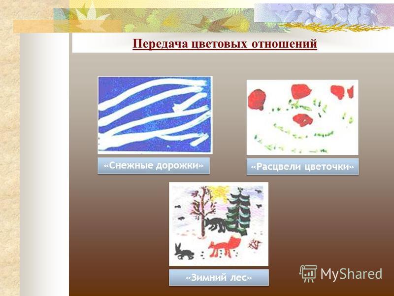 Передача цветовых отношений «Снежные дорожки» «Расцвели цветочки» «Зимний лес»