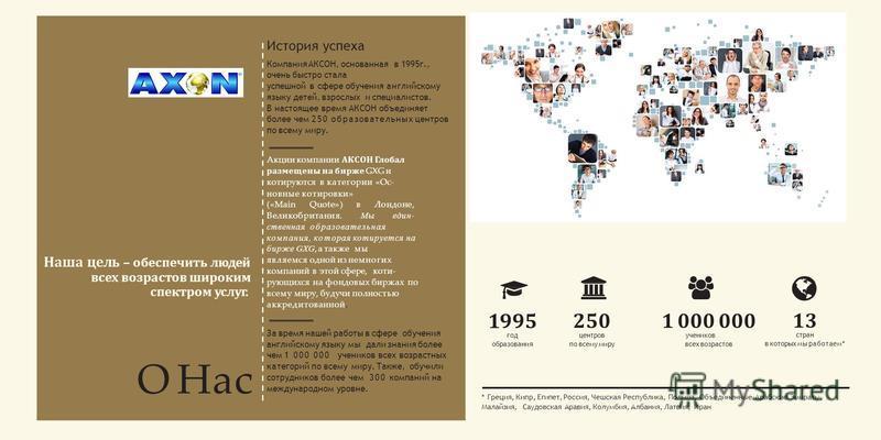 О Нас } 250 центров по всему миру 1 000 000 учеников всех возрастов 13 стран в которых мы работаем* 1995 год образования * Греция, Кипр, Египет, Россия, Чешская Республика, Польша, Объединенные Арабские Эмираты, Малайзия, Саудовская Аравия, Колумбия,