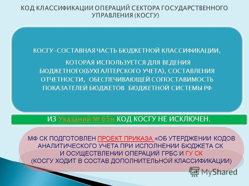 КОСГУ-СОСТАВНАЯ ЧАСТЬ БЮДЖЕТНОЙ КЛАССИФИКАЦИИ, КОТОРАЯ ИСПОЛЬЗУЕТСЯ ДЛЯ ВЕДЕНИЯ БЮДЖЕТНОГО(БУХГАЛТЕРСКОГО УЧЕТА), СОСТАВЛЕНИЯ ОТЧЕТНОСТИ, ОБЕСПЕЧИВАЮЩЕЙ СОПОСТАВИМОСТЬ ПОКАЗАТЕЛЕЙ БЮДЖЕТОВ БЮДЖЕТНОЙ СИСТЕМЫ РФ ИЗ Указаний 65 н КОД КОСГУ НЕ ИСКЛЮЧЕН.У