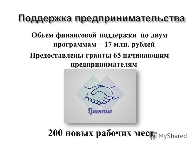 Объем финансовой поддержки по двум программам – 17 млн. рублей Предоставлены гранты 65 начинающим предпринимателям 200 новых рабочих мест