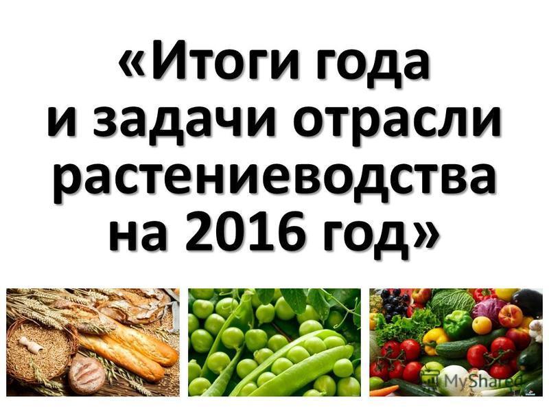 «Итоги года и задачи отрасли растениеводства на 2016 год» 1