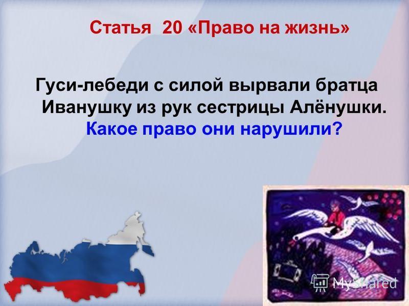 Статья 20 «Право на жизнь» Гуси-лебеди с силой вырвали братца Иванушку из рук сестрицы Алёнушки. Какое право они нарушили?