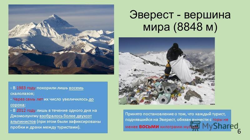Эверест - вершина мира (8848 м) - В 1983 году покорили лишь восемь скалолазов; - Через семь лет их число увеличилось до сорока; - В 2012 году лишь в течение одного дня на Джомолунгму взобралось более двухсот альпинистов (при этом были зафиксированы п
