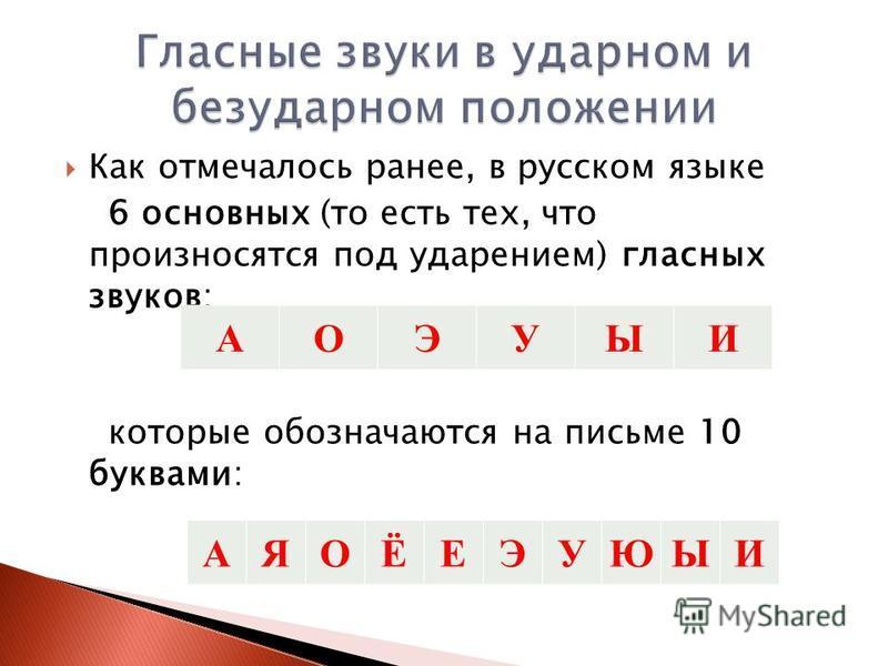 Как отмечалось ранее, в русском языке 6 основных (то есть тех, что произносятся под ударением) гласных звуков: которые обозначаются на письме 10 буквами: AОЭУЫИ AЯОЁЕЭУЮЫИ