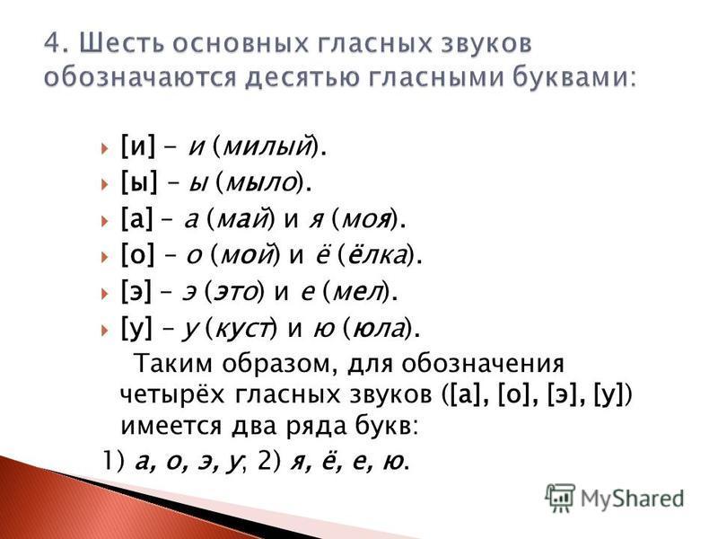 [и] - и (милый). [ы] – ы (мыло). [а] – а (май) и я (моя). [о] – о (мой) и ё (ёлка). [э] – э (это) и е (мел). [у] – у (куст) и ю (юла). Таким образом, для обозначения четырёх гласных звуков ([а], [о], [э], [у]) имеется два ряда букв: 1) а, о, э, у; 2)